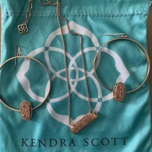 Kendra Scott earrings and matching necklace.
